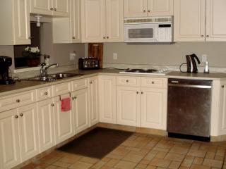 kitchen with range, dishwasher, full sized fridge/freezer