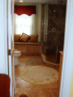 Large guest bath with marble tiles, glass shower.