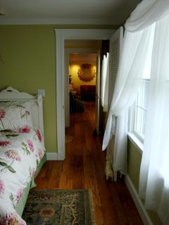 View from twin bedroom through hallway.