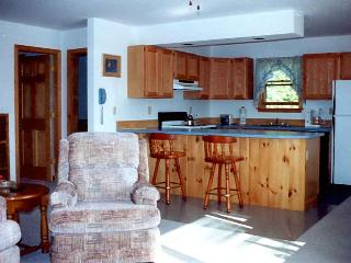 Kitchen viewed from the den. Bedrooms to left; dining and entertainment areas are 'behind' camera.