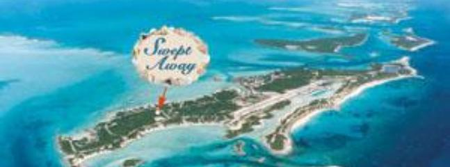 Aerial view of Staniel Cay with \'Swept Away\' location pinpointed