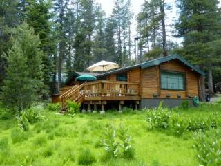 Back of Cabin w/ Large Deck & Meadow