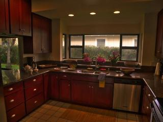 Upscale kitchen with granite countertops