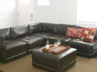Large and comfy sectional where the whole group can enjoy a movie together.