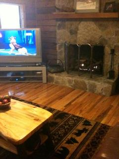 Fire place and 50 inch big screen TV