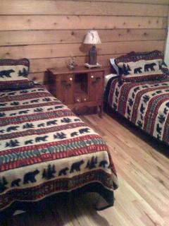 Spare bedroom with two twin beds