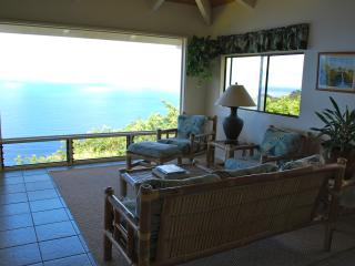 Living room with glass window and oceanviews