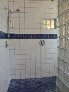 Dual shower heads in this super sized shower