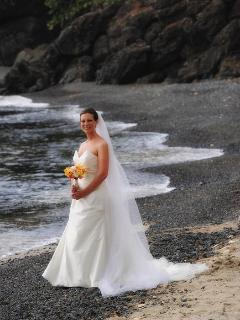 The beautiful bride on the beach