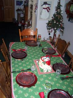 dining room at Christmas time with the tree up