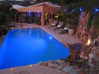 blue light dusk at the villa