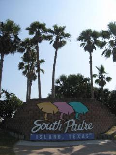 Welcome at entrance to South Padre Island