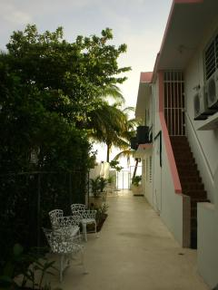 Walkway to beach and sitting area