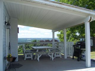 The covered patio off the kitchen, wonderful place to relax in the shade, enjoy a meal or barbeque.