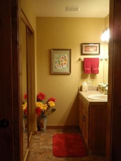 Gold & Crimson bath for bedroom #2