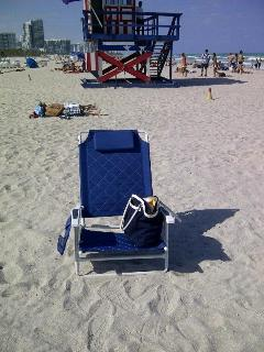 3 large beach chairs and towels provided