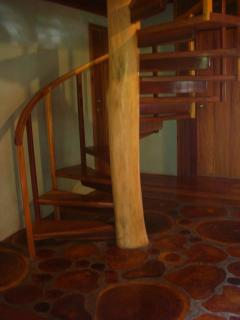 Elegant hardwood spiral stair to the Canopy Room