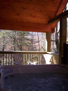 back deck off master bedroom w/ hot tub