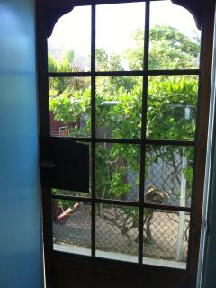 Keep the bugs out with our screen door