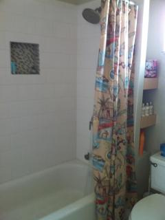 New tub and tile surround with giant shower head.