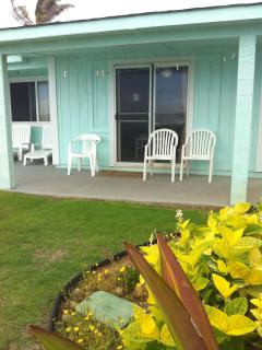 Your covered porch facing the ocean.  New seating added
