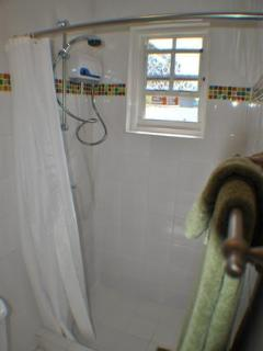 Shower with hot water