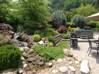 Water feature in backyard with extensive landscaping.