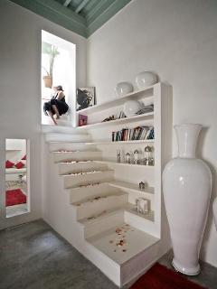 stairs to bedrooms and terraces