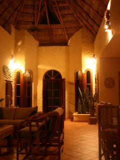 Dramatic 20' Palapa Ceiling over Living Room