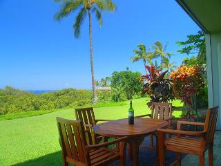 Scenic ocean and mountain views, spacious ground level 2br/2ba with yard, Princeville