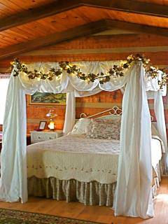 Romantic, king size, canopy bed with lights