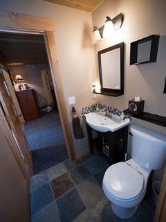 Lower level bath with heated tiles
