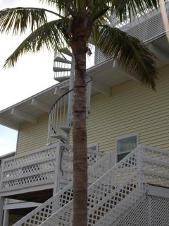 spiral staircase to roof deck