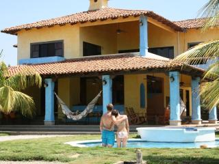 Pool and home view for Pochomil Beach vacation home rental