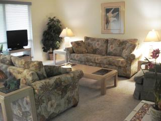 "Living Room - Sofa bed, love seat chair, 27"" flat panel TV with cable & DVD."
