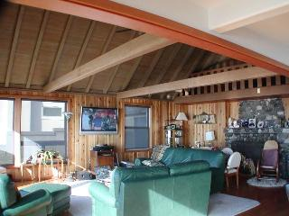 Living room with HD TV and Vaulted ceilings