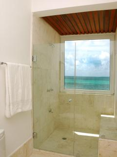 Master Bath: Views of the sea while you shower...