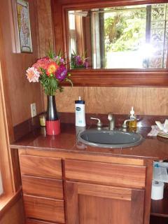 Forest Room bathroom koa cabinets