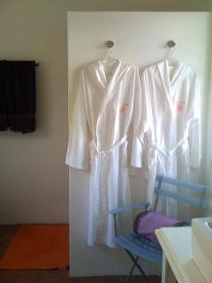 Monogrammed bathrobes, walk-in shower