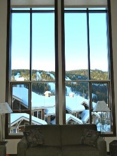cathedral windows in the living area, overlooking Mt Morissey