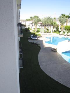Pool area view from balcony