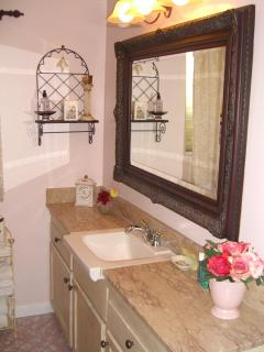 Garden Spa View Guest Bathroom with Marble Countertop