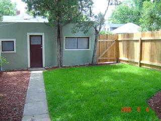 Private backyard, sidewalk leading from garage to back door and patio/BBQ area