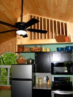 Eco Kitchen side with loft overhead