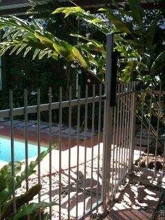 Pool Gate - Pool and Outdoor Areas are seperated by gates from the Main House and Pavillion Bedroom