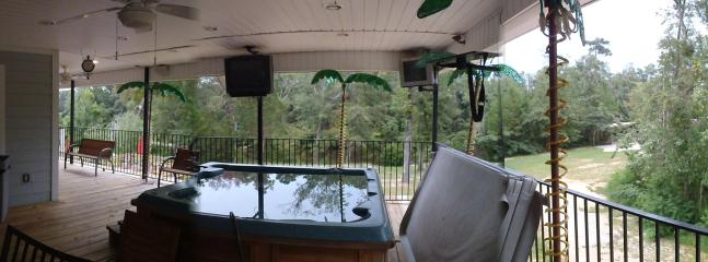 Panoramic view from Back porch of pool river and surroundings