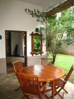 The garden patio, outside the visitor room