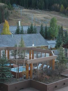 You can toss a snowball to the hot tubs in ski season!  Pic taken in the fall :)