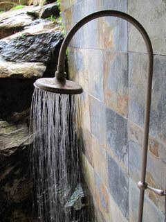 Warm outdoor shower