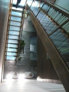 glass stairs looking down